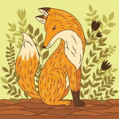 Sticker Vektor-Illustration mit Fuchs