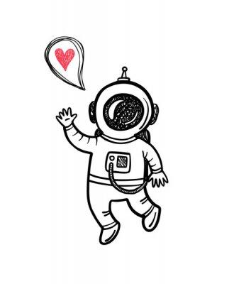 Sticker Vektor-Illustration mit Gekritzel-Astronaut