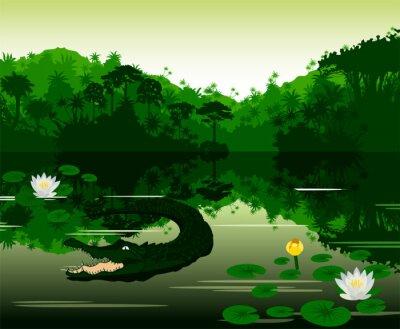 Sticker Vektor-Illustration Tropische Fluss mit Krokodil