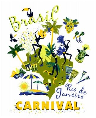 Sticker Vektor-Illustration von Brasilianischer Karneval.