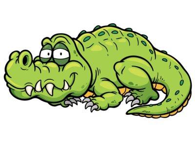 Sticker Vektor-Illustration von Cartoon-Krokodil