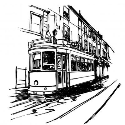 Vektor-Illustration von einem typischen Straßenbahn in Lissabon - Portugal