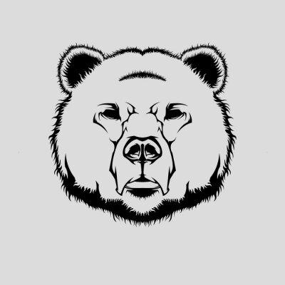Sticker Vektor-Illustration von Grizzly tragen Kopf