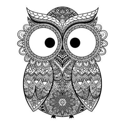 Sticker Vektor-Illustration von ornamentalen Eule.