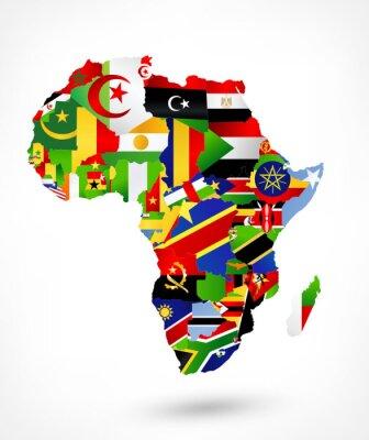 Sticker Vektor-Karte von Afrika mit Flaggen und Lage auf der Weltkarte