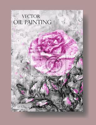 Vektor, künstlerischen universelle Karte mit Rose und Blätter. Ölgemälde auf Leinwand. Entwurf für Plakat, Einladung, Broschüre, Flieger.
