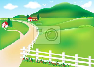 Vektor-Landschaft mit Berg im Hintergrund, auf dem Land und Haus weißen Zaun.