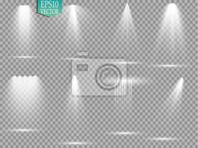 Sticker Vektor Lichtquellen, Konzertbeleuchtung, Bühnenscheinwerfer gesetzt. Konzertscheinwerfer mit Strahl, beleuchtete Scheinwerfer für Webdesign Illustration