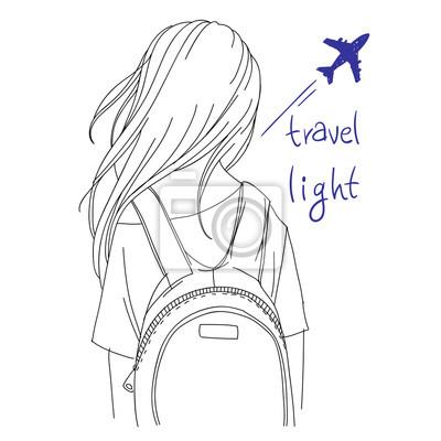 """Vektor Linie Kunst Illustration - Reisende Backpacker Mädchen mit Rucksack, Rückansicht, mit Worten """"Reise Licht"""""""
