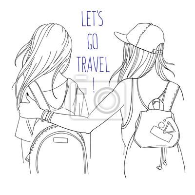 """Vektor-Linie Kunst Illustration - Reisende, Rucksacktouristen, Mädchen mit Rucksäcken, zwei Freunde reisen zusammen - Rückansicht, mit Worten """"let's go travel"""""""