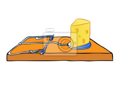 Vektor Mausefalle mit Käse - trap