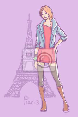 Vektor-Mode-Illustration. Top-Modell in Minikleid, Strümpfe und Jeansjacke stehend und posiert mit Eiffelturm auf Hintergrund