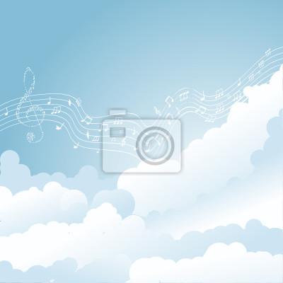 Vektor musikalischen Notizen Personal in den Wolken. Vektor-Illustration