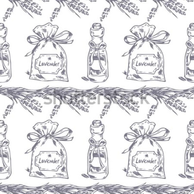 Sticker Vektor nahtlose Muster. Lavendelthema der Provence. Muster mit grafischem Lavendelsäckchen und -öl. Digital gezeichnete Illustration in der lila Farbe. Weinlesemuster von den Lavendelelementen lokalis