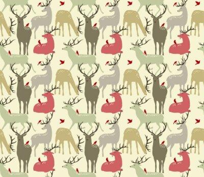 Sticker Vektor nahtlose Muster mit Hirschen und Vögeln
