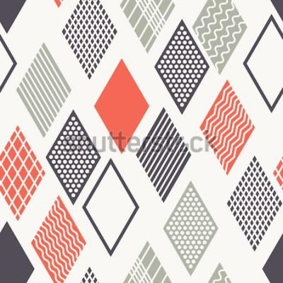Sticker Vektor nahtlose Muster. Moderne stilvolle Textur. Geometrische Verzierung mit bunten Rauten