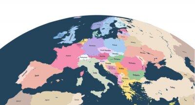 Sticker Vektor Planet Erde Globus mit Nahaufnahme von Europa Kontinent