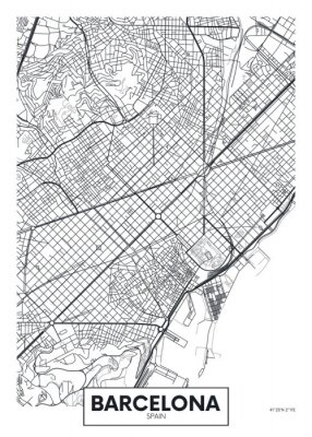 Vektor-Poster-Karte Stadt Barcelona