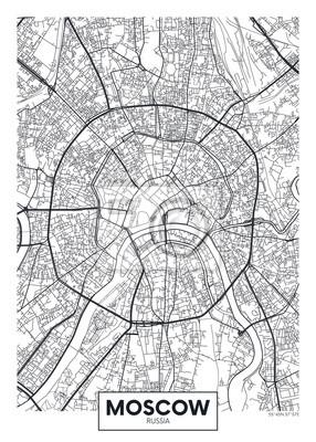 Vektor-Poster-Karte Stadt Moskau