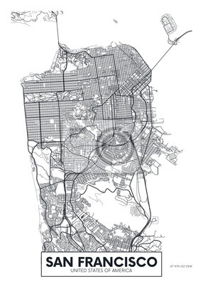 Vektor Poster Karte Stadt San Francisco