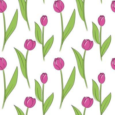 Sticker Vektor rosa einfache Tulpe Blumen nahtlose Muster