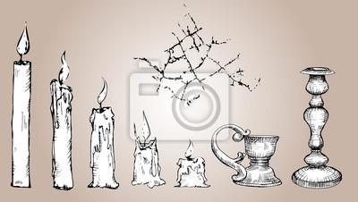 Vektor Satz von Sketch Kerzen, schwarz und weiß Collection alten Gold Leuchter, Crack. Hand gezeichnete Illustration, Prozess der Kerze Brennen, isoliert.