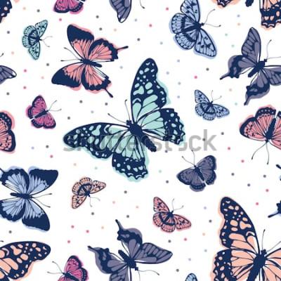 Sticker Vektor-Schmetterlingsmuster. Abstrakter nahtloser Hintergrund.