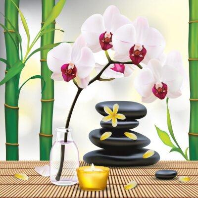 Sticker Vektor Schöne Spa-Komposition mit Zen-Steine