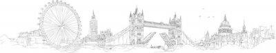 Sticker Vektor Skizze Handzeichnung Panorama-London Silhouette