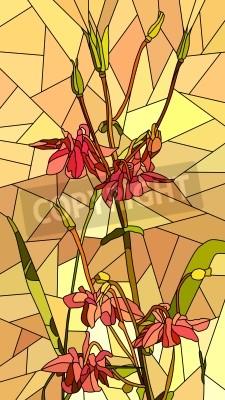Sticker Vektor vertikal Mosaik mit großen Zellen von columbine Blumen auf gelb.