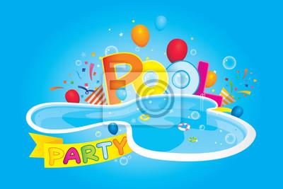 Vektor von pool-party einladung und design-elemente. notebook ...