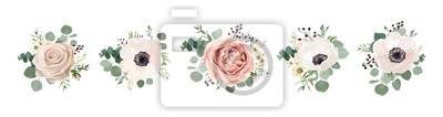 Sticker Vektorblumenstraußdesign: sahniges Pulver des Gartens rosa Pfirsichlavendel blasse Rosenwachsblume, Anemone Eukalyptusniederlassungsgrün verlässt Beere. Hochzeitsvektor laden Karte Aquarell-Designerel