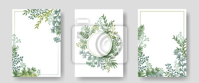 Sticker Vektoreinladungskarten mit Kräuterzweigen und Zweigenkranz und Eckrandrahmen.