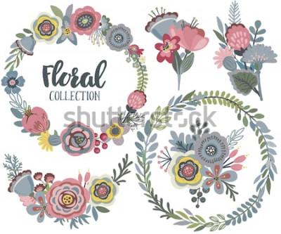 Sticker Vektorgraphik stellte mit schönen Blumen, Blumenkranz, Blumensträuße ein. Bunte Sammlung für den Gruß, Save the Date Karten, Hochzeitseinladungen