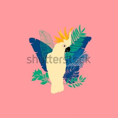 Sticker Vektorillustration - Kakadupapagei, exotische Vögel, tropische Blumen, Palmblätter, Paradiesvogel