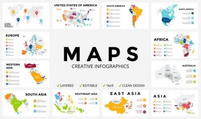 Sticker Vektorkarte infografisch Dia-Präsentation. Globales Business-Marketing-Konzept. Farbe Land. Weltverkehr Geographie Daten. Ökonomische Statistikvorlage. Welt, Amerika, Afrika, Europa, Asien