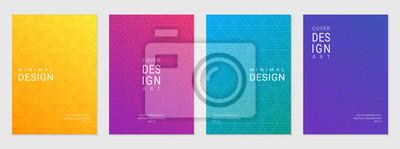 Sticker Vektorsatz der Abdeckungsentwurfsschablone mit minimalen geometrischen Mustern, moderner unterschiedlicher Farbverlauf.