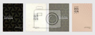 Sticker Vektorsatz der Abdeckungsentwurfsschablone mit minimalen goldenen geometrischen Mustern.