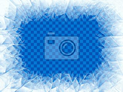 Sticker Vektortransparentes blaues Frostfenster