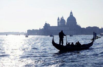 Sticker Venedig, Canal Grande mit Gondel und Kirche Santa Maria della Salute