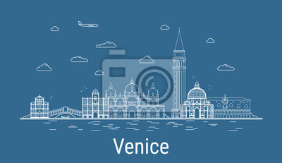 Venice city, Line Art Vector illustration with all famous buildings. Linear Banner with Showplace. Composition of Modern cityscape. Venice buildings set.
