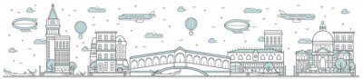 Venice skyline. Line cityscape with famous building landmarks horizontal panorama. Vector skyline with channel bridge and gondolas city sights. Venice city constructions outline, architecture concept.