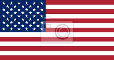 Sticker Vereinigte Staaten von Amerika Flagge. Die richtigen Proportionen und Farbe
