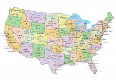 Sticker Vereinigte Staaten von Amerika - sehr detaillierte editierbare politische Karte mit Beschriftung.