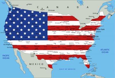 Sticker Vereinigten Staaten von Amerika sehr detaillierte politische Karte mit Nationalflagge.