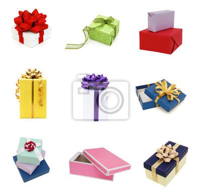 Verpackungskästen auf Geschenken