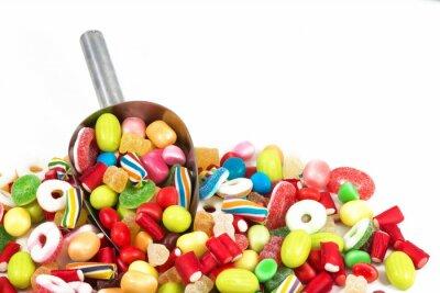 Sticker Verschiedene farbige Süßigkeiten isoliert in weißem Hintergrund