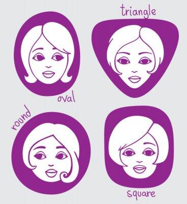 Verschiedene Gesichtsformen - oval, Dreieck, rund, quadratisch. Vier einfache handgezeichnete Porträts.