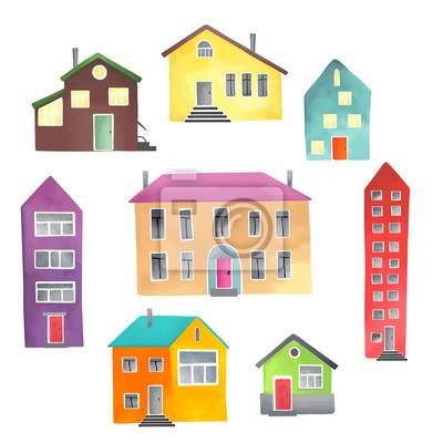 Verschiedene Häuser auf einem weißen Hintergrund