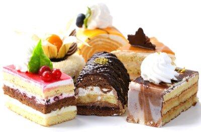 Sticker Verschiedene Mini-Kuchen mit Sahne, Schokolade und Beeren